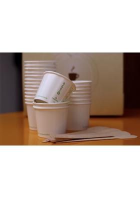 bicchieri caffè compostabili e palette in legno